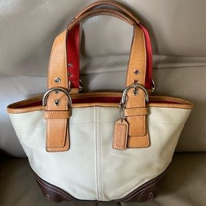 Authentic Coach Canvas and leather hobo!!